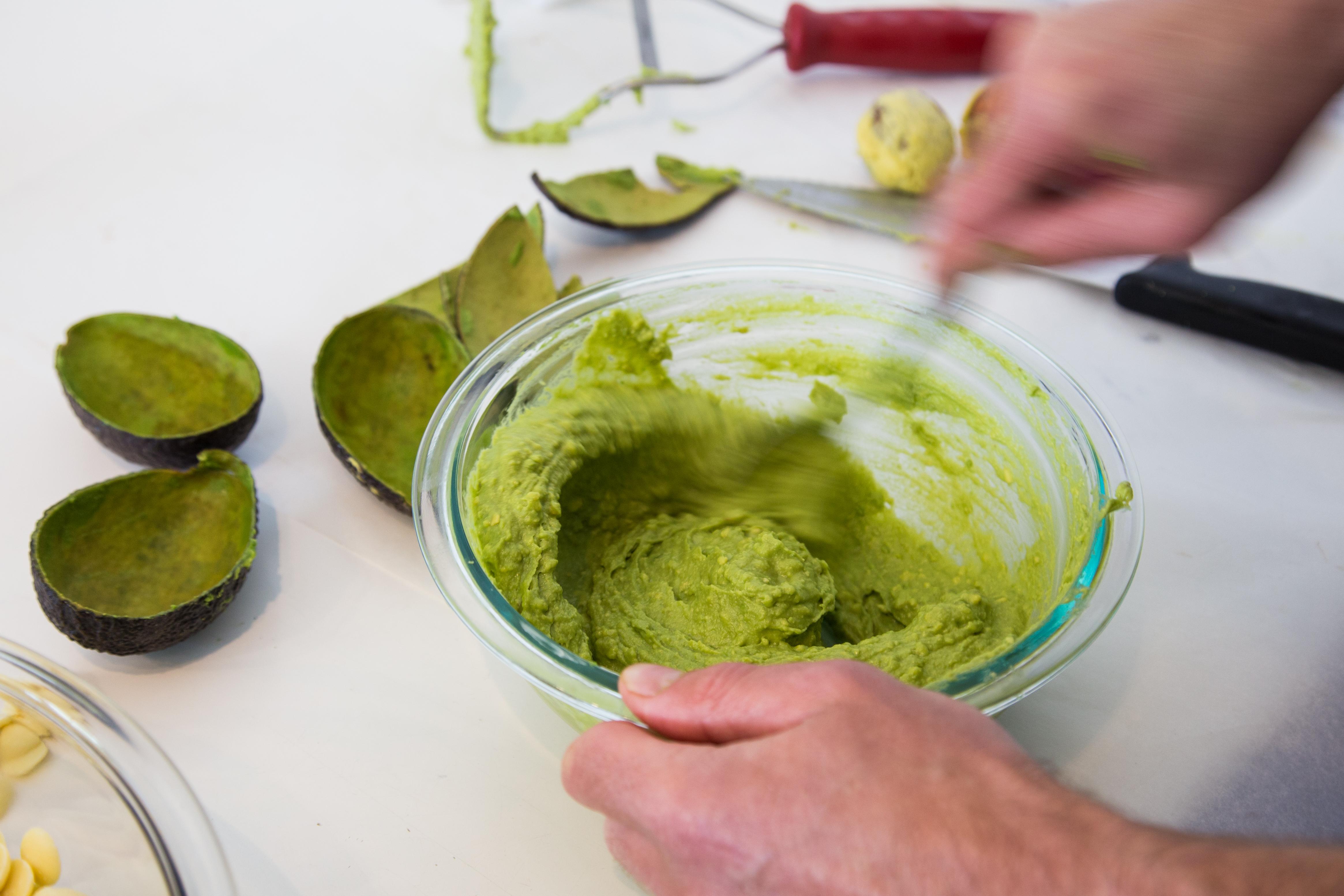 Cut, scoop and mash California avocados