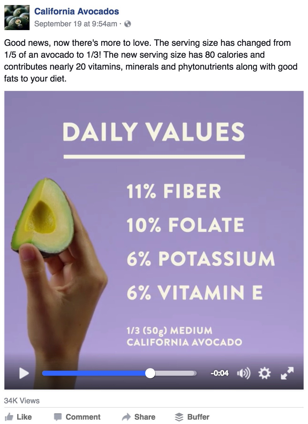 The Commission announced the updated 1/3 avocado serving size on Facebook with a video featuring nutrition information.