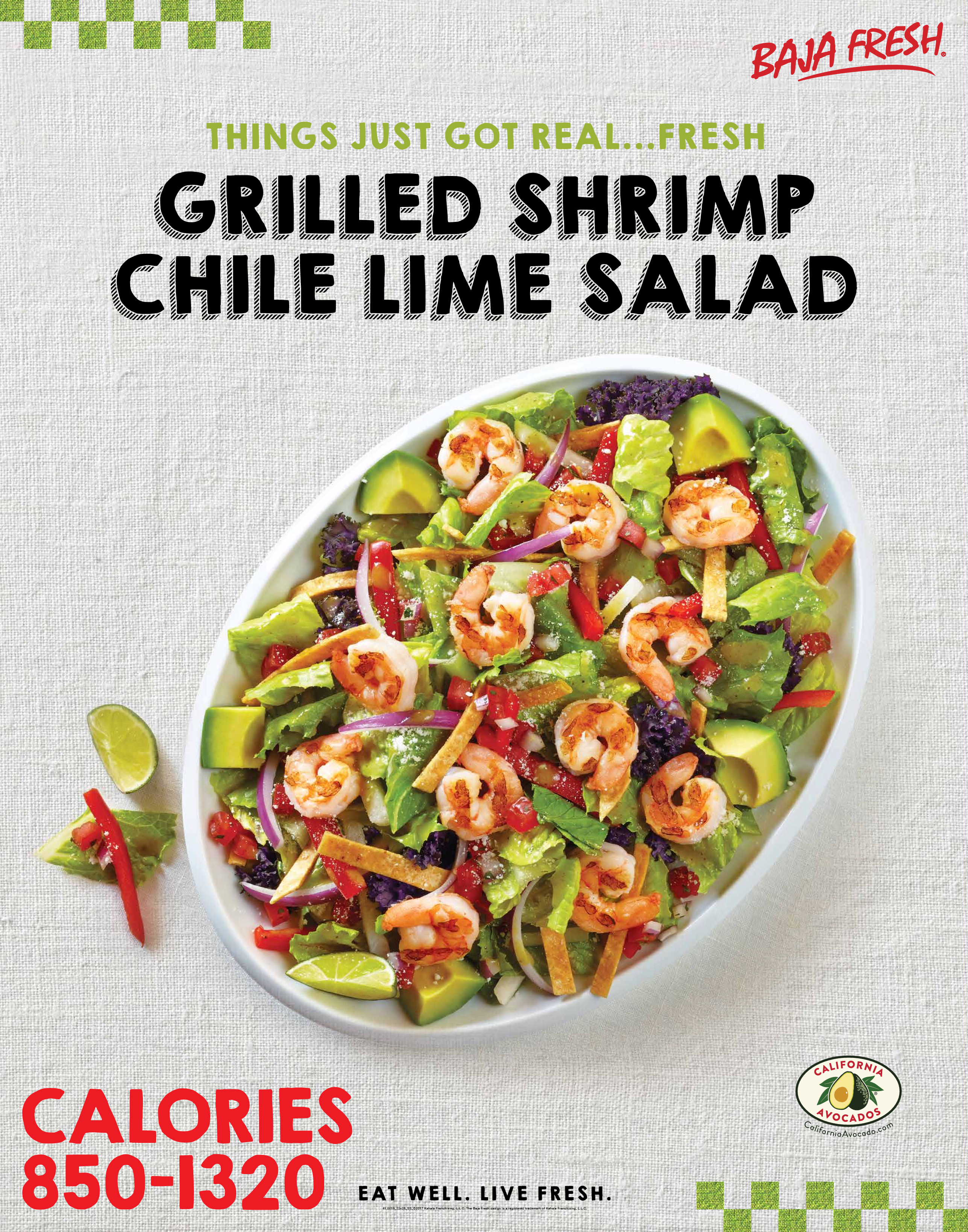 The Baja Fresh menu board features the new California Avocados brand logo and diced California avocado atop the Grilled Shrimp Chile Lime Salad.