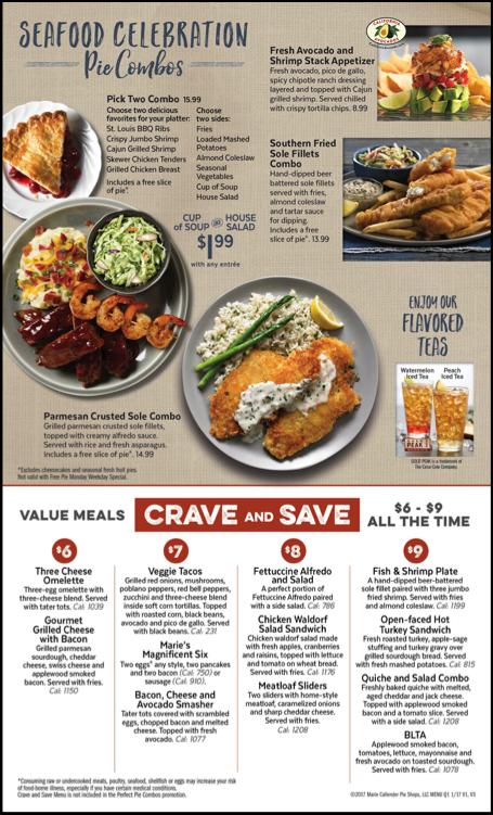 The Seafood Celebration Pie Combos menu features the California avocado logo and four California-avocado centric menu items.