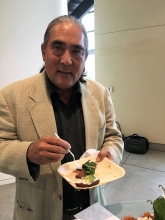 Panelist/former secretary of California Department of Food and Agriculture  A.G. Kawamura enjoyed his Whole Grain Tartine with Goat Cheese Ricotta Spread,  Pickled Avocado and Everything Bagel Topping.
