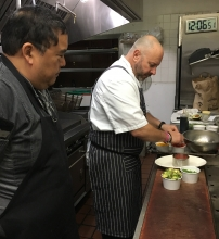 Chef Dave Woolley building a California Avocado Crab Tower for David Bolosan of Black Angus Steakhouse.