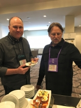 Brian Campbell, On The Border, and Keith Brunell, Nordstrom Restaurant Group, enjoying a break with California Avocado Deviled Eggs with Chile de Arbol Salsa.