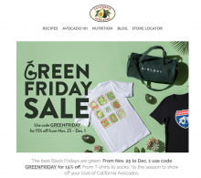 The Commission encouraged California avocado fans to take advantage of the GREENFRIDAY sale via its email newsletter.