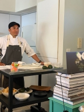 Chef Hernandez preparing for the video conference cook-along with Islands Restaurants' culinary research and development team.