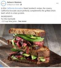 CAC Living Well Brand Advocate Manuel Villacorta's California Avocado Steak Sandwich was featured on Gelson's social media platforms.