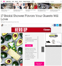 Good Housekeeping included Compartes' White Chocolate and California Avocados Bar as one of the best bridal shower favors.