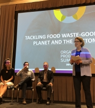 Jan DeLyser moderated a discussion that focused on tackling food waste.