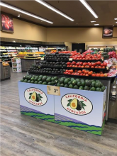 California Reed avocados were displayed in 27 Albertsons-Vons-Pavilions stores to showcase avocado variety.