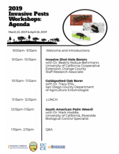 The University of California Cooperative Extension is hosting two Invasive Pests Workshops in San Diego County.