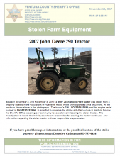Ventura County seeks information concerning a tractor stolen in the Oxnard, CA area.