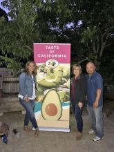 Sheryl Salazar of Albertsons/Vons, Connie Stukenberg (CAC) and Dave Cruz (CAC) at the entrance to the Taste of the Grove event.