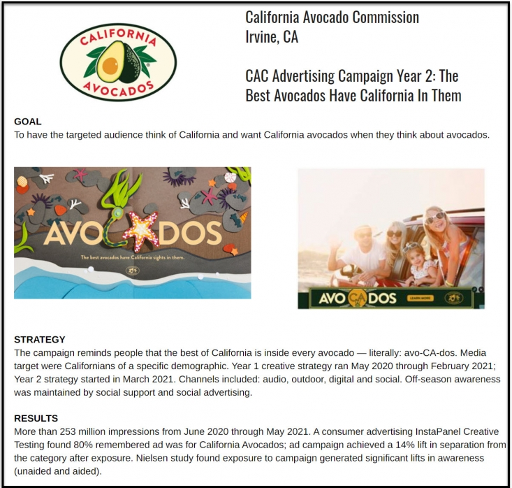 Produce Business announced its Marketing Excellence Award winners in its August 30 newsletter, including the California Avocado Commission's award.