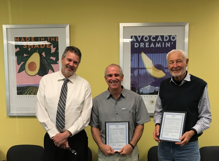 Steve Patton, CDFA Inspection and Compliance Branch Chief, presented retiring AIC producer members Peter Changala and Will Carleton with a resolution from CDFA Secretary Karen Ross commending and thanking them for their service.