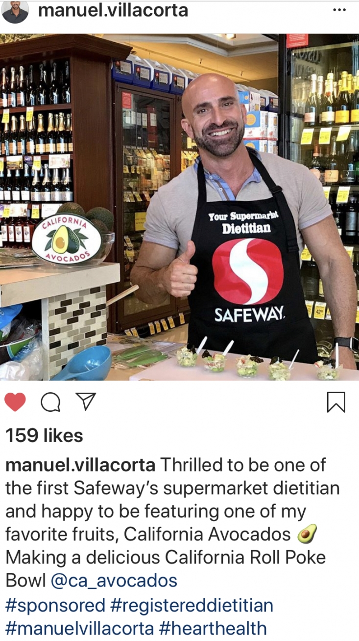 CAC RDN Manuel Villacorta encouraged his followers to join him at the San Francisco Safeway to enjoy samples of California Roll Poke Bowl.