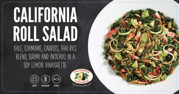 The Sizzler's salad bar cling featured the California avocado logo.