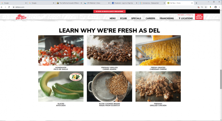 """Del Taco's home page showcases the California Avocados logo and fresh slices of the fruit under its """"Fresh as Del"""" feature."""