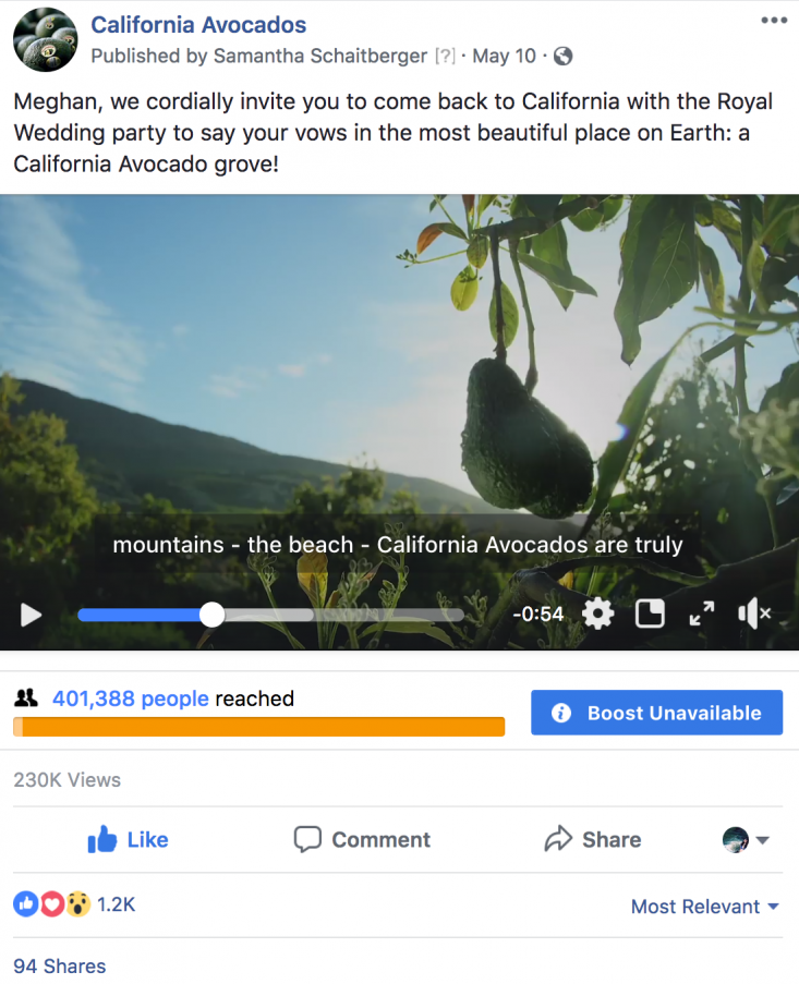 Beautiful grove footage with a compelling and comic narrative highlighted the premium nature and unique locale of California avocados while tying into a trending Royal Wedding social media conversation.