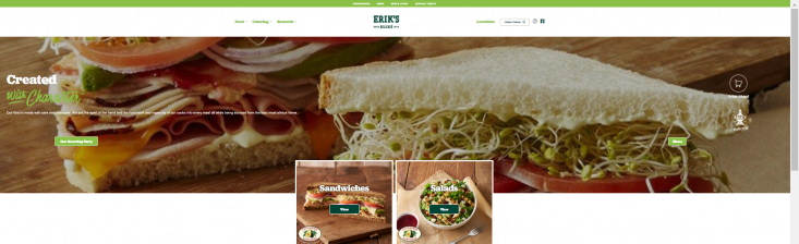 Erik's DeliCafe FOOD landing page showcases California avocado menu items and the California Avocados brand logo front and center.