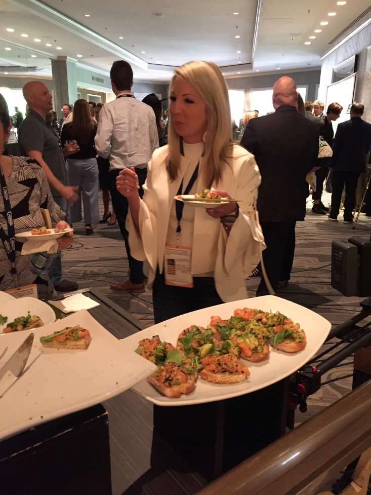 MEG attendees line up for the Poke-cado Toast with California Avocado.