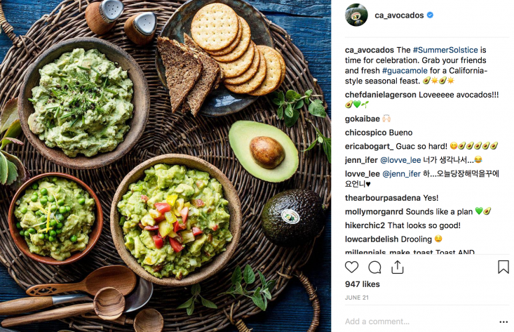 The Commission celebrated the Summer Solstice with its Instagram fans by showcasing a favorite — fresh California avocado guacamole.