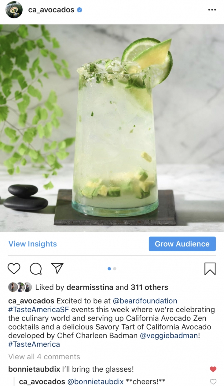 The California Avocado Zen Cocktail was featured in a CAC Instagram post that was a favorite of California avocado consumers.