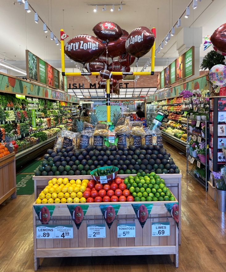 Mollie Stone's locations in Northern California showcased California avocados in Big Game displays.