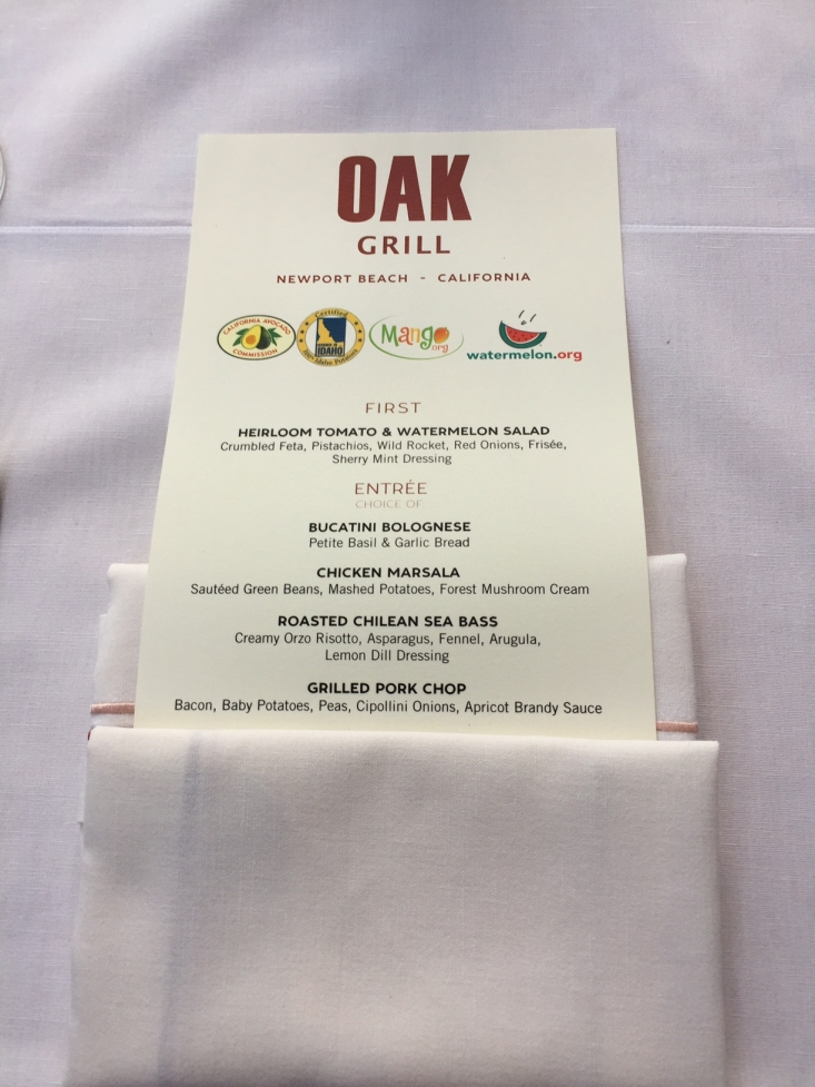 The California Avocados logo was prominently featured on the Oak Grill menu.