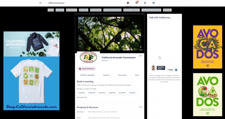 Visitors to the California Avocado Commission Marketplace viewed advertising and merchandise examples, downloaded helpful documents, watched videos and booked meetings with the Commission team.