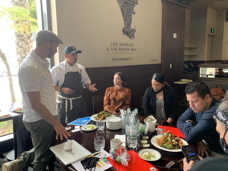 Chef Jason Hernandez and Alexei Rudolf from CAC's foodservice team present easy-to-prepare California avocado menu items to the Grill Concepts team.