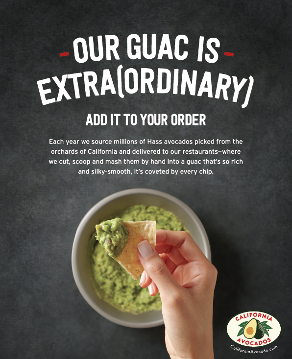 Chipotle POP shines a spotlight on fresh California avocados during this year's April menu promotion.
