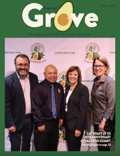 The Winter 2019 issue of From the Grove is now available on the California avocado growers website.