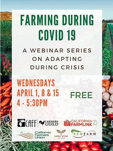 """Farming During COVID-19: A Webinar Series on Adapting to Crisis"" will take place on Wednesdays."