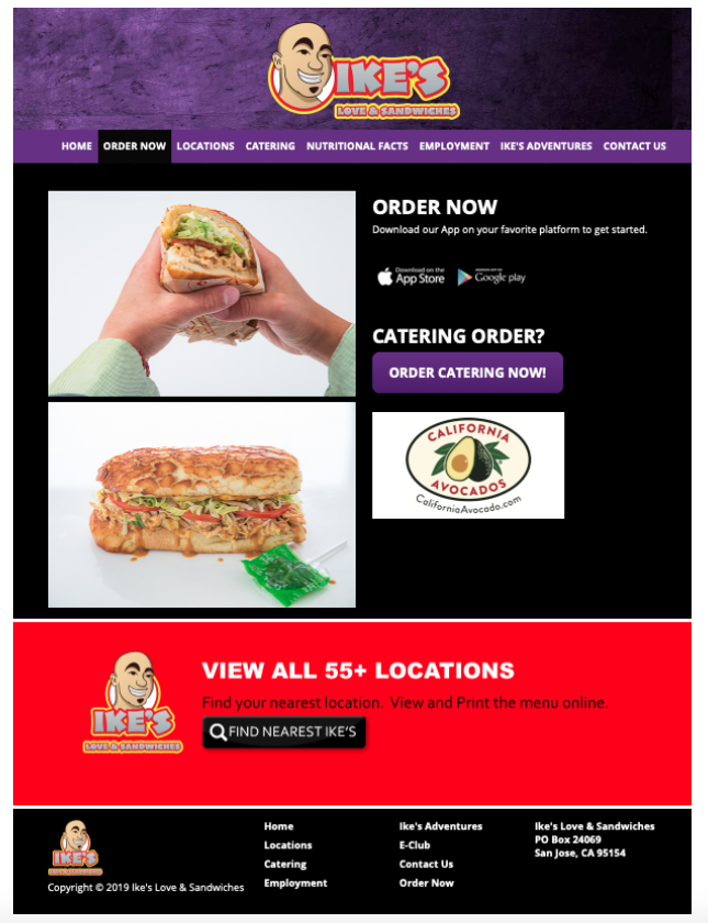 The California Avocados brand logo was featured on Ike's online ordering page throughout June.
