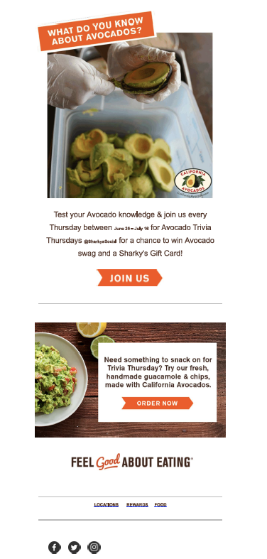 Sharky's e-newsletter shared fun facts about California avocados.