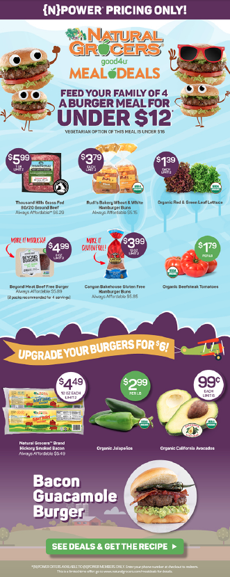 """Natural Grocers' Meal Deal ad encouraged shoppers to """"upgrade"""" their burgers with fresh California avocados."""