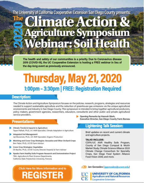 The free soil health webinar will take place May 21 from 1:00 p.m.  – 3:00 p.m.