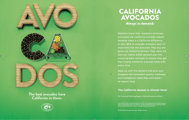 This two-page spread in the February issue of The Snack magazine launched the California avocado season.