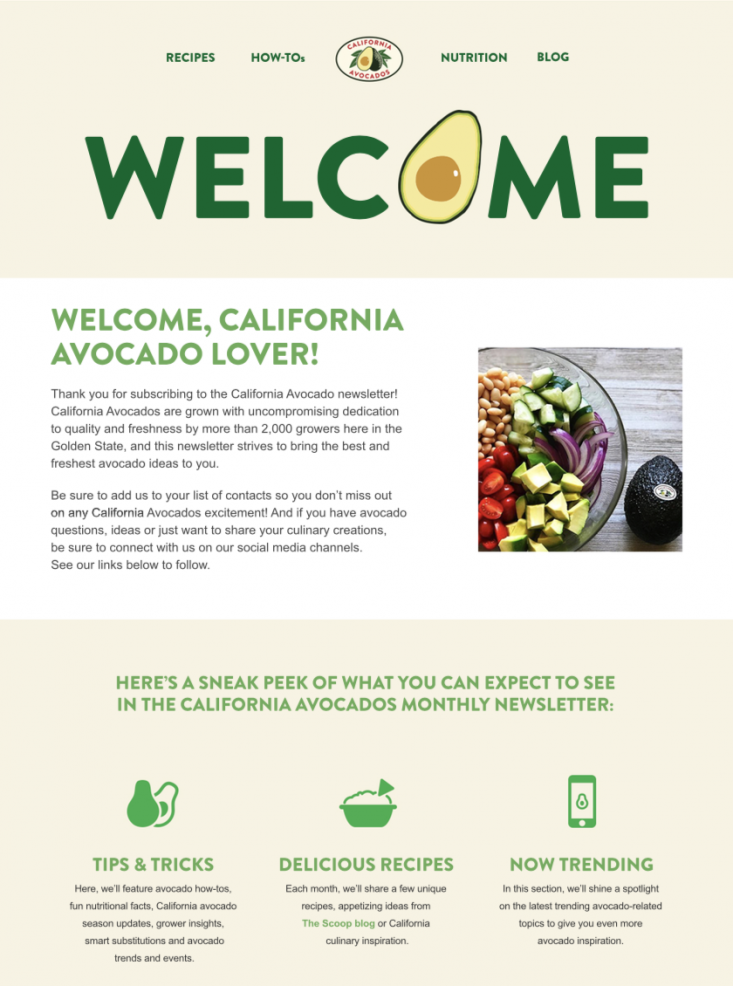 Welcome Series Newsletter #1 provided an introduction to the brand and highlights key areas of the California avocado website for subscribers to click through and explore.