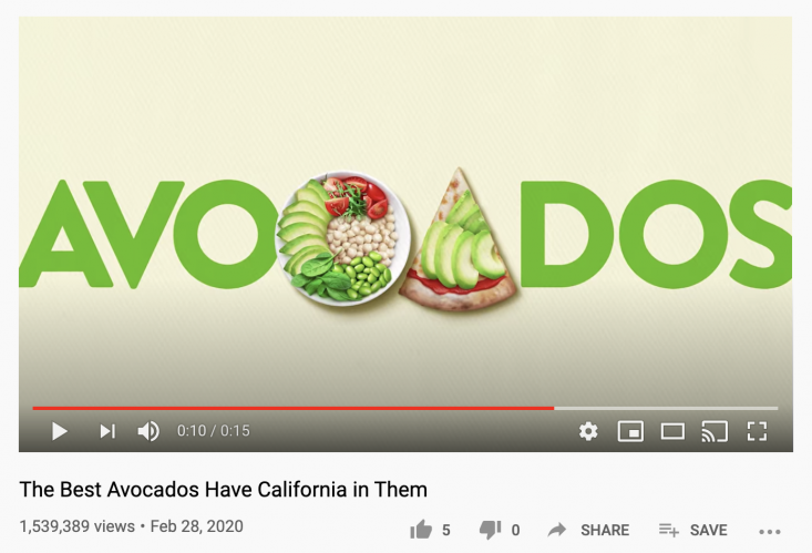 """""""The best avocados have California in them"""" video generated more than 1.5 million views."""