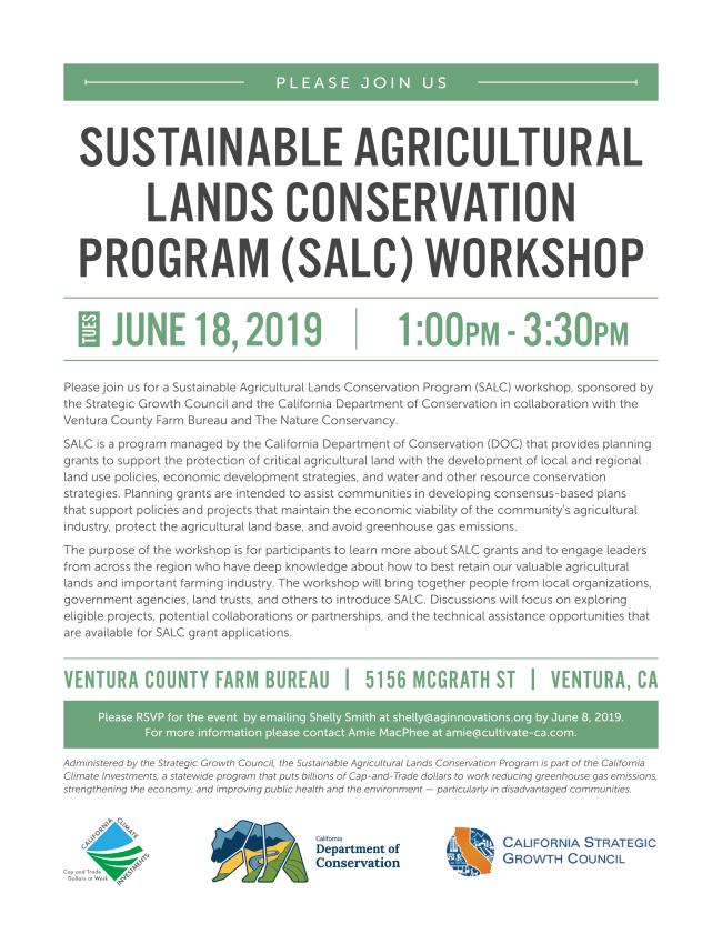 free Sustainable Agricultural Lands Conservation Program (SALC) workshop