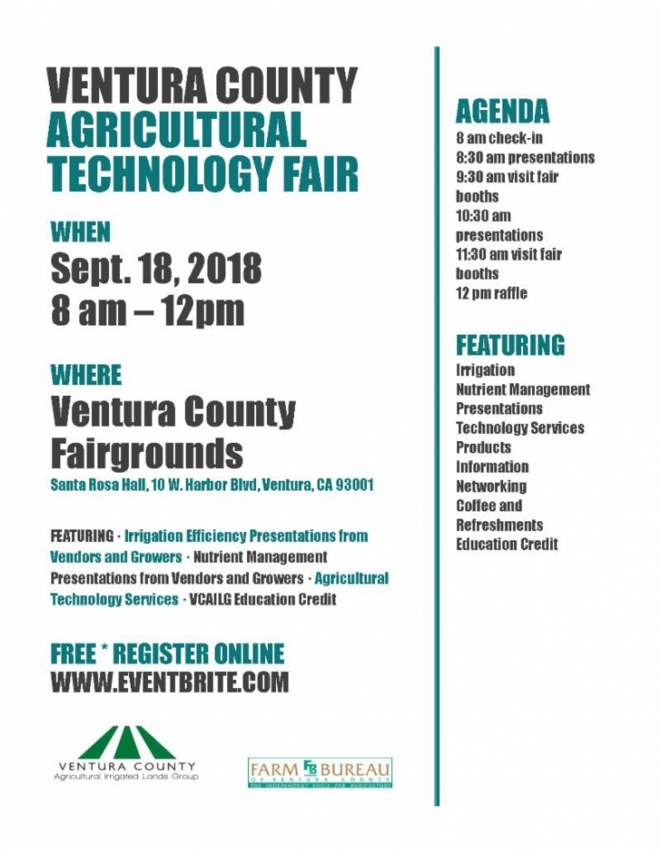 The Ventura County Agricultural Technology Fair will showcase innovative agricultural technologies and feature presentations concerning the latest agricultural management practices